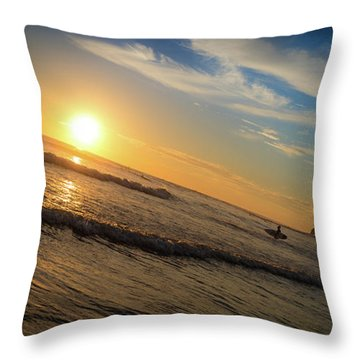Throw Pillow featuring the photograph End Of Summer Sunset Surf by T Brian Jones
