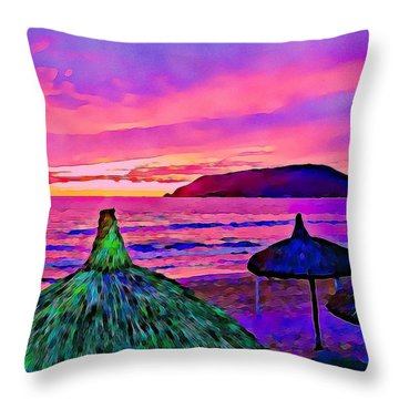 End Of The Beach Day In Mazatlan Throw Pillow