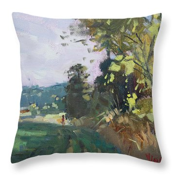 End Of The Day In The Farm  Throw Pillow