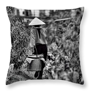 End Of The Day Vietnamese Woman  Throw Pillow