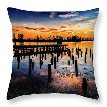 End Of The Fishing Day Throw Pillow
