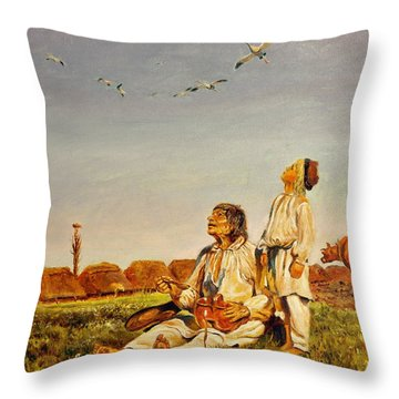 End Of The Summer- The Storks Throw Pillow