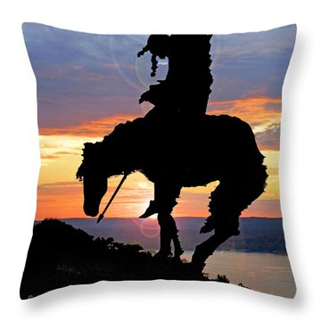 End Of The Trail Sculpture In A Sunset Throw Pillow