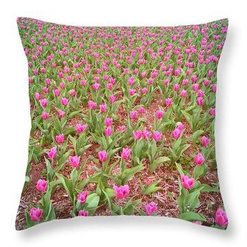 Endless Purple Tulips Throw Pillow