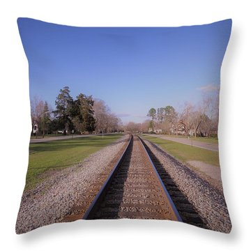 Throw Pillow featuring the photograph Endless Railroad by Aaron Martens