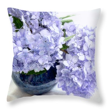 Endless Summer Hydrangea Still Life Throw Pillow by Louise Kumpf