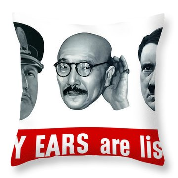 Enemy Ears Are Listening Throw Pillow
