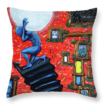 Throw Pillow featuring the painting Energy Flow, The Active Space And The Effects Of The Rising Moon by Similar Alien