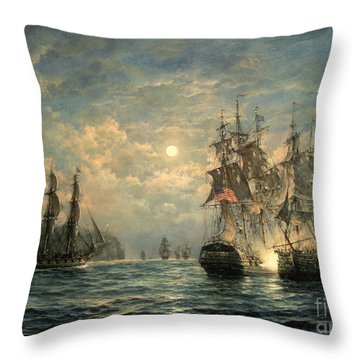 Engagement Between The 'bonhomme Richard' And The ' Serapis' Off Flamborough Head Throw Pillow