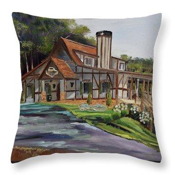 Throw Pillow featuring the painting Engelheim In The Morning - Vineyard - Ellijay, Ga by Jan Dappen