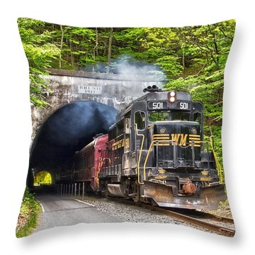 Engine 501 Coming Through The Brush Tunnel Throw Pillow by Jeannette Hunt
