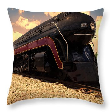 Engine #611 In Ole Town Petersburg Virginia Throw Pillow