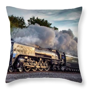 Engine 844 At The Dora Crossing Throw Pillow