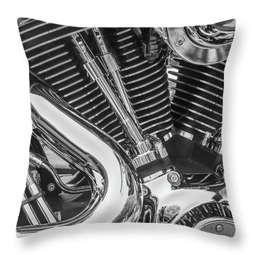 Throw Pillow featuring the photograph Engine Chrome In Black And White by Samuel M Purvis III