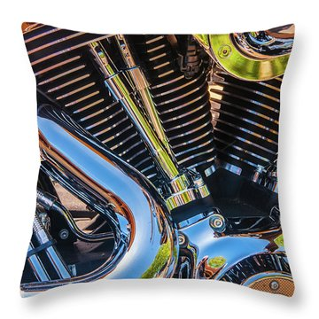 Throw Pillow featuring the photograph Engine Chrome by Samuel M Purvis III