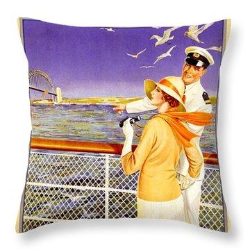 England To Australia Throw Pillow by Nostalgic Prints