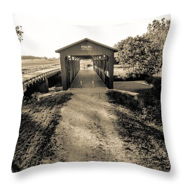 Engle Mill Covered Bridge Throw Pillow