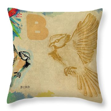 English Alphabet , Bird Throw Pillow