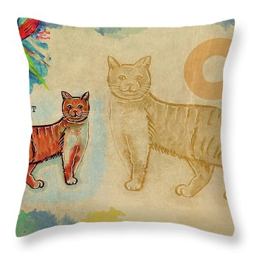 English Alphabet , Cat Throw Pillow