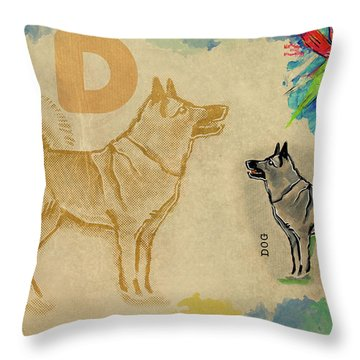 English Alphabet , Dog Throw Pillow