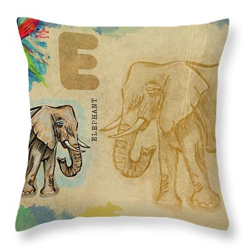 English Alphabet , Elephant Throw Pillow