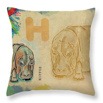 Throw Pillow featuring the drawing English Alphabet ,  Hippos by Ariadna De Raadt