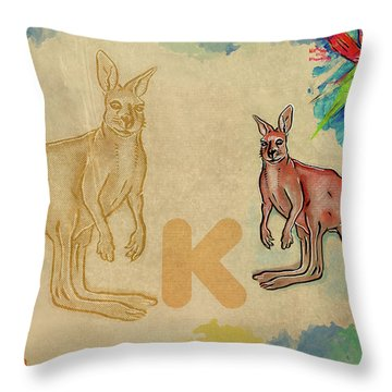 Throw Pillow featuring the drawing English Alphabet , Kangaroo by Ariadna De Raadt