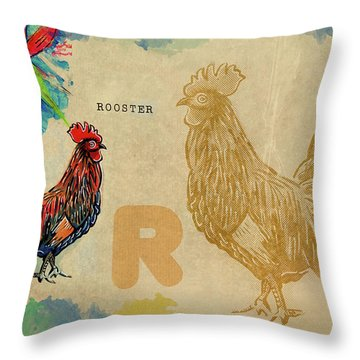 Throw Pillow featuring the drawing English Alphabet , Rooster  by Ariadna De Raadt