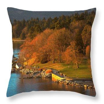 English Bay At Golden Hr. Throw Pillow
