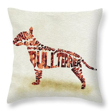 Throw Pillow featuring the painting English Bull Terrier Watercolor Painting / Typographic Art by Ayse and Deniz