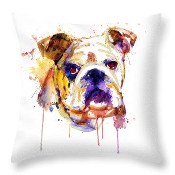 Throw Pillow featuring the mixed media English Bulldog Head by Marian Voicu