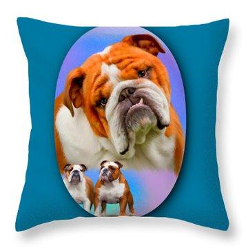 English Bulldog- No Border Throw Pillow