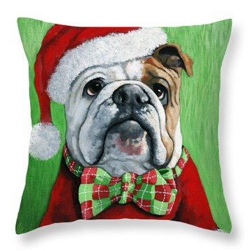 Holiday Cheer -english Bulldog Santa Dog Painting Throw Pillow