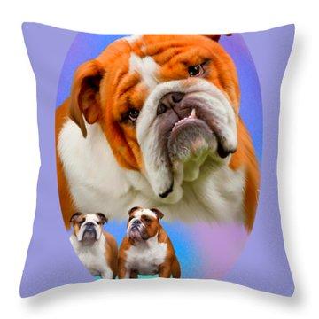 English Bulldog With Border Throw Pillow