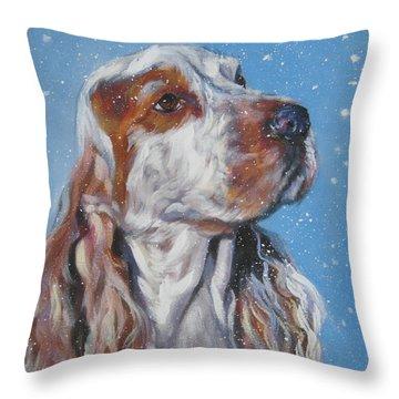 English Cocker Spaniel In Snow Throw Pillow by Lee Ann Shepard