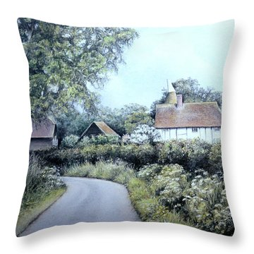 English Country Lane Throw Pillow