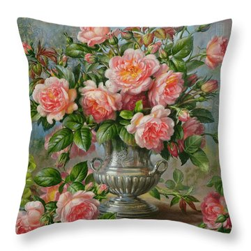 English Elegance Roses In A Silver Vase Throw Pillow by Albert Williams