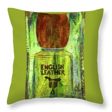 Throw Pillow featuring the painting English Leather by P J Lewis