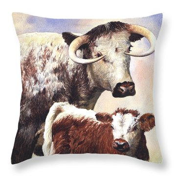 English Longhorn Throw Pillow