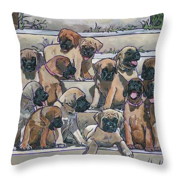 English Mastiff Puppies Throw Pillow by Nadi Spencer