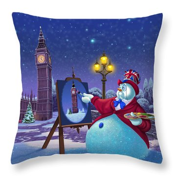 English Snowman Throw Pillow by Michael Humphries