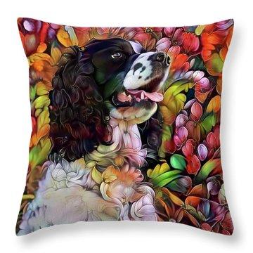 English Springer Spaniel In The Garden Throw Pillow