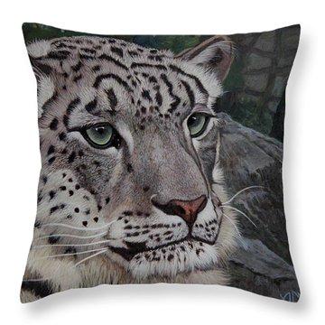 Enif- Snow Leopard Throw Pillow