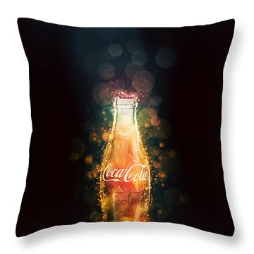 Throw Pillow featuring the photograph Enjoy Coca-cola With Bubbles by James Sage