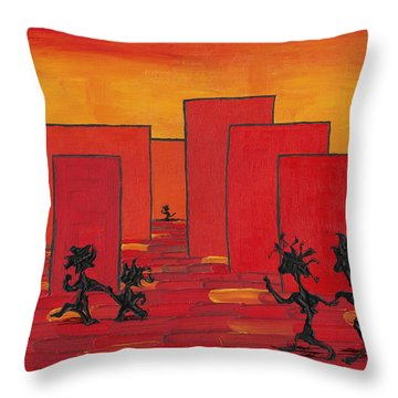 Enjoy Dancing In Red Town P1 Throw Pillow