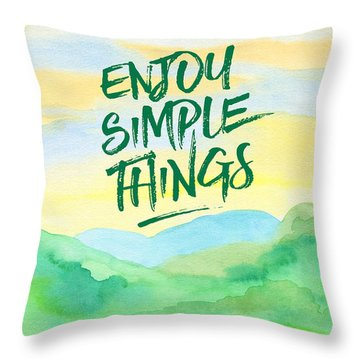 Enjoy Simple Things Rice Paddies Watercolor Painting Throw Pillow by Beverly Claire Kaiya