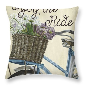 Enjoy The Ride Vintage Throw Pillow
