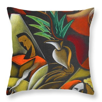 Throw Pillow featuring the painting Enjoying Food And Drink by Leon Zernitsky