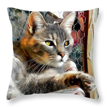Enjoying The Spring Sunshine Throw Pillow