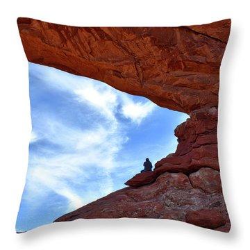 Enjoying The Sunrise At Arches National Park Utah 01 Throw Pillow